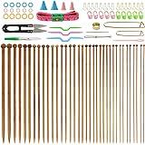 BUZIFU 36Pcs Aiguille de Bambo, Aiguilles Bambou à Tricot de 18 Paire de Aiguilles à Tricoter de 2– 10MM avecAccessoires po