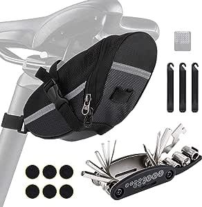 Borsa da sella, borsa da sella per bicicletta, kit di riparazione per biciclette 16 in 1, strumento per biciclette multifunzione, kit di riparazione per biciclette per bicicletta / MTB / bicicletta