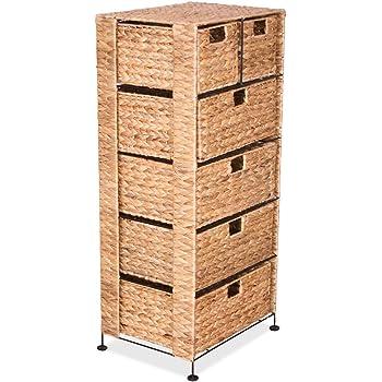 Amazon De Zri Bamboo Korb Kommode Aus Holz Mit 3 Geschlossenen