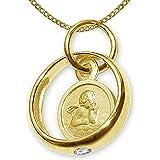 Set gioielli Clever - Ciondolo-anello da battesimo, dorato, con angelo, rotondo, zircone bianco, lucido, lunga catena a picco
