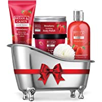 Bryan & Candy New York Strawberry Bath Tub Kit for Complete Home Spa Experience (Shower Gel, Hand & Body Lotion, Sugar Scrub, Body Polish)