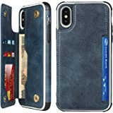 Sailortech for iPhone Xs Max Case Premium PU Leather Kickstand & Card Slots, Wristlet, Double Magnetic Clasp Shockproof Prote