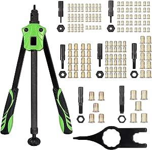Proster Nietzange 14 Nietmutternzange Set Push Pull Stange Design Ergonomische Gewinde Griff Mit 7 Austauschbarer Dorne M3 M4 M5 M6 M8 M10 M12 Und 165 Pcs Nietmuttern Baumarkt