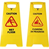 TARGET HYGIENE Plastic Caution Standing Board - BIG SIZE Sign Borad (Combo Of 2 Pcs Sign Board,Wet Floor And Cleaning in Prog