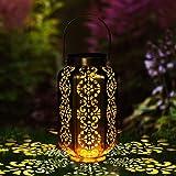 LOOHAOC Farol Solar para Exteriores - Luces de Linterna Solar Luz Colgante Lámpara de Metal de Luces de Jardín Lámpara Hexago