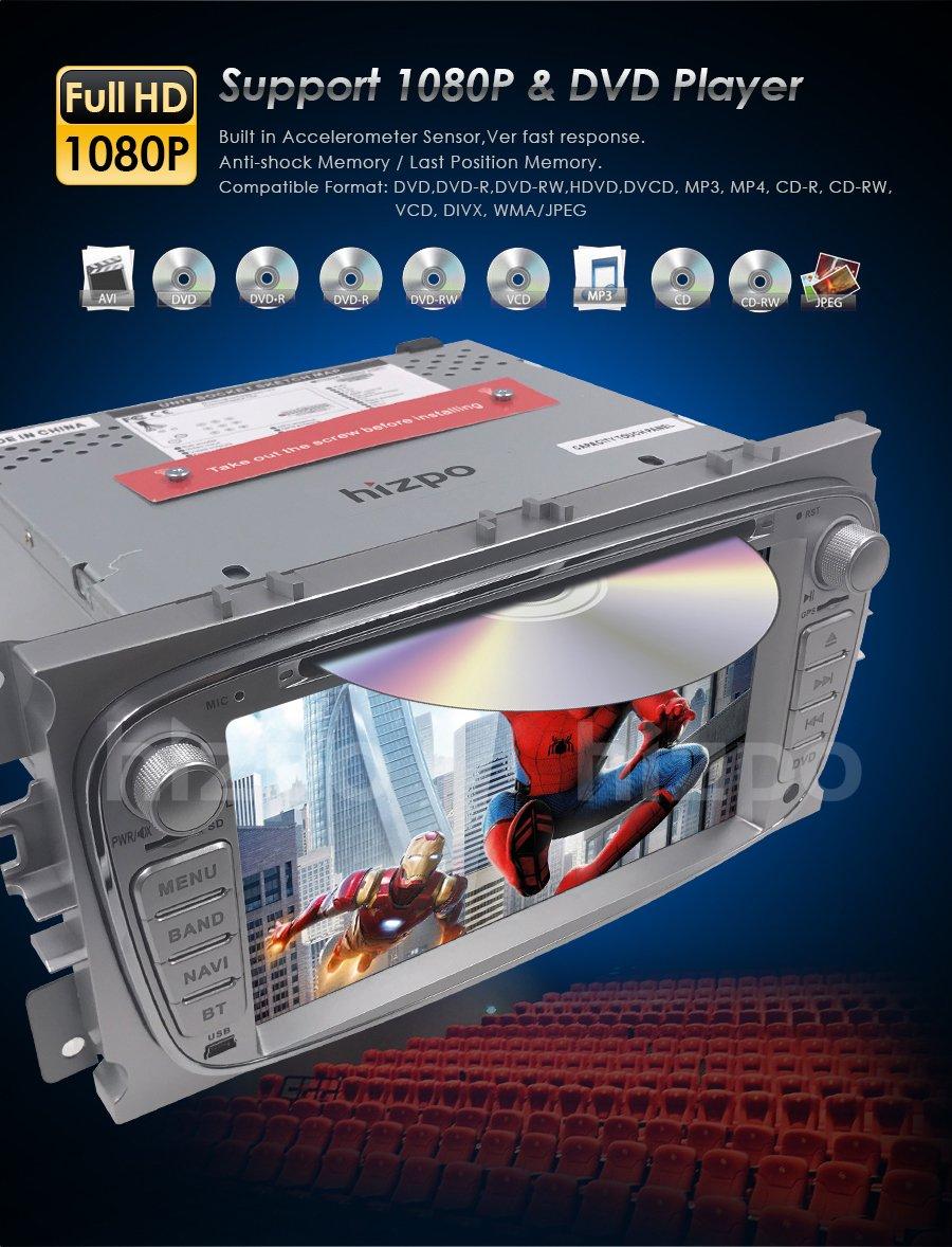 Autoradio-DVD-Player-mit-GPS-Navi-fr-Ford-Focus-Mondeo-Galaxy-S-MAX-Untersttzt-DAB-Bluetooth-USB-SD-DVD-CD-Lenkradfernbedienung-7-Silber