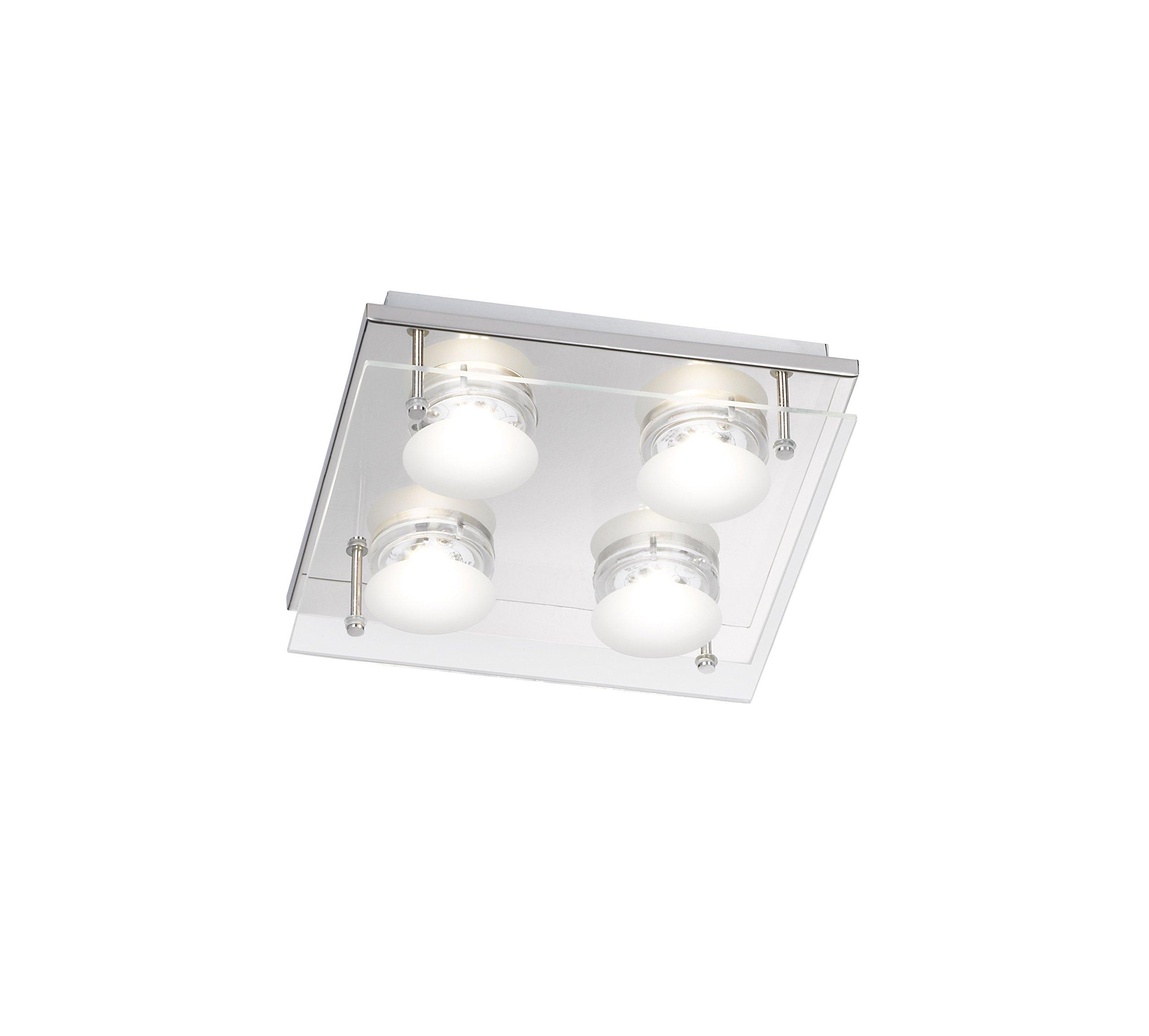 WOFI Lampada da Soffitto Integriert, 22 W, Silber, Transparent, 22 x 22 x 5.5 cm