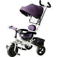 Homcom Tricycle Enfant évolutif Pare-Soleil Pliable Canne télescopique Amovible 92 x 51 x 110 cm Acier Violet Blanc et…
