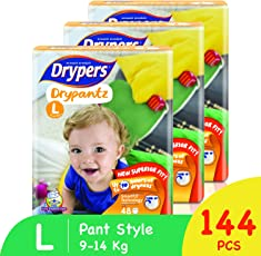 Drypers Drypantz Large Size Pant Diaper (Monthly Pack, 144 Counts)