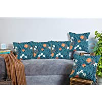 STITCHNEST Floral Digital Printed Cotton Cushion Cover Pack of 5 (12x12 inches)