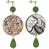 in Lebole Collezione The Circle DOR167 Scorpione Orecchini da Donna in Ottone Pietra Verde Oliva