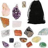 icyant Juego de Cristales Curativos, 15 Piedras de Chakra de Cristal incluye 7 Piedras de Cchakra en Bruto 7 Piedras Caídas 1