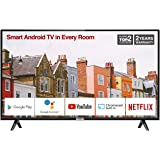 TCL 32ES568 32-Inch Smart Android TV HD, HDR, Micro Dimming, Netflix, YouTube, DVB Compatible, Dolby Audio, Bluetooth, Wi-Fi, USB, 2 x HDMI, Narrow Design for Kitchen, Bedroom-Black
