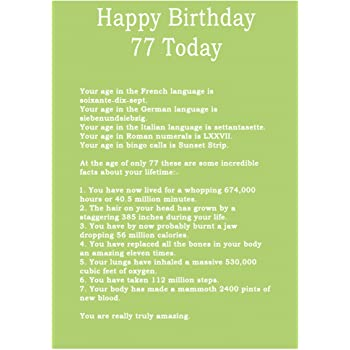 Age 77 Body Facts Birthday Card