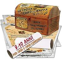 Caccia al tesoro con mappa in scatola per casa e casa/giardino 8-10 anni - per feste di compleanno - giochi per bambini