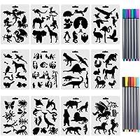 Lot de 12 animaux Pochoirs avec 10 de couleur Fineliner stylos,plastique Dessin Peinture des modèles avec les animaux de…