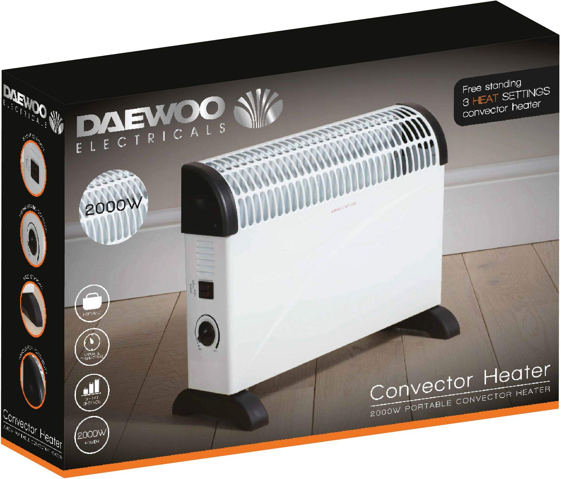 7102%2Bb2wiFL - Daewoo Free Standing Bedroom/Kitchen 2000W Convector Heater with 3 Heat Settings, Safety Cut-Out Function with…