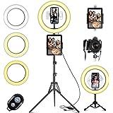 """Lampa pierścieniowa LED ze statywem telefon komórkowy, 10"""" lampa pierścieniowa do selfie z pilotem zdalnego sterowania i podw"""