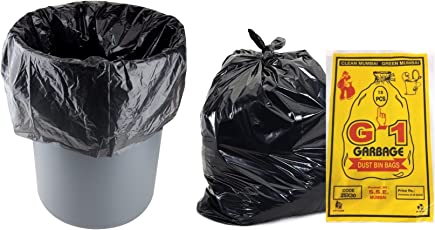 G-1 25x30 Large Disposable Garbage Trash Waste Dustbin Bags, 63cm x 76cm (G125300005) - Pack of 70 Pieces