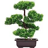 Aisamco Bonsai Artificial Decoración de Plantas Falsas Plantas Artificiales en macetas Plantas de Bonsai de Pino japonés 33 c