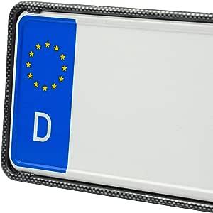 Eurosnap Auto Kennzeichenhalter Carbon 2er Set Inklusive Montageanleitung Für Deutschland Dezenter Kfz Kennzeichenrahmen Universal Pkw Nummernschildhalter Auto
