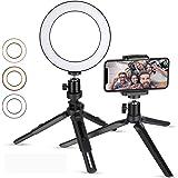 Zacro 6 Pulgadas LED Anillo de Luz Trípode y Soporte para Teléfono, 3 Modos de Luz y 10 Niveles de Brillo, Soporte para Selfi
