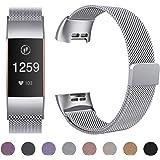 HUMENN pour Fitbit Charge 3 Bracelet, Milanaise Bande de Remplacement en Métal Entièrement Réglables avec Verrouillage Magnétique Puissant pour Fitbit Charge 3, Petit Grand