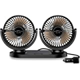 ELUTO Car Fan Cooler 12V/24V Cigarette Lighter Electric Auto Cooling Fan 3 Speed 360 Degree Rotatable Dual Head Car Fans…