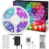 ALED LIGHT Kit de Ruban LED Lumineux Bluetooth 10M 32.8ft 5050 RGB SMD Multicolore 300 LED Non Etanche Bande LED Flexible Str