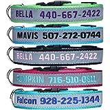 Collar de Perro Reflectante Personalizado, Nombre y número de teléfono del Perro Bordado, Collar Ajustable y Suave para Camin