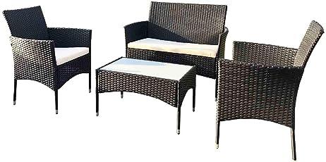 SoBuy 4 Teilige Gartengruppe mit 1 Tisch und 3 Stühlen Gartenmöbel Set Terrassenmöbel inkl. Sitzkissen Gartengarnitur Polyrattan