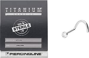 PIERCINGLINE - Piercing per naso   Titanio   Cristallo piatto   Piercing naso a spirale   STERILIZZATO
