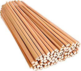 "Vardhman Bamboo Sticks, 100 Pcs , 9"" Length Unfinished Round Sticks For Diy Model Building Craft"