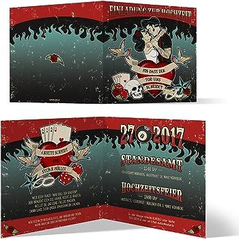 Einladungskarten Hochzeit 30 Stuck Rockabilly Hochzeitskarten