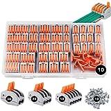 Conectores eléctricos rapidos 80 piezas, estancos Conectores de cableado de cables Kits de bloque de terminales con soportes