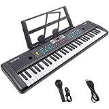 Elektroniskt pianotangentbord, Renfox 61 tangent barnbärbart digitalt pianotangentbord med musikstativ, strömkontakt och mikr