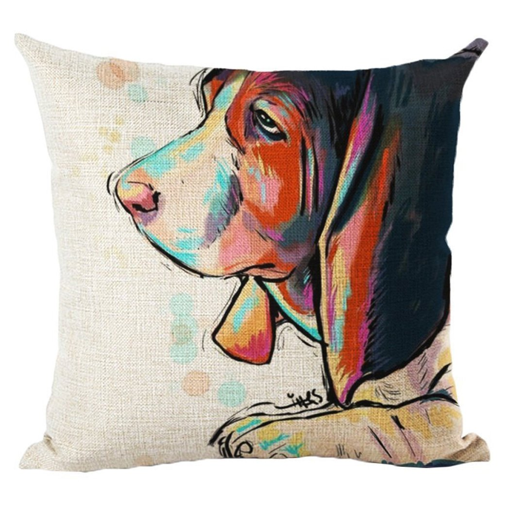 Moyun Cute Pet Basset Hound Dog Pattern Cotton Linen Throw Pillowcase Cushion Cover Car Sofa Home Decor 45 x 45 cm