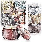 YMing Velas Aromática, Juego de 4 Piezas 4.4Oz Velas Perfumadas, Estaño de Viaje de Cera Natural de Soja Portátil, Regalos Or