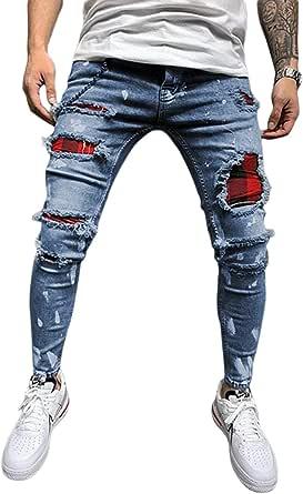 Livingsenburg Pantaloni Jeans Strappati Slim Fit da Uomo Pantaloni Skinny in Denim Casual a Tinta Unita