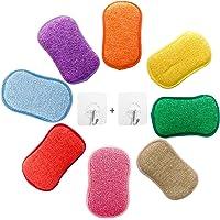 Lot de 5 éponges vaisselle reutilisable eponges, AUERVO Double Action en Microfibre antibactériennes et résistantes pour…
