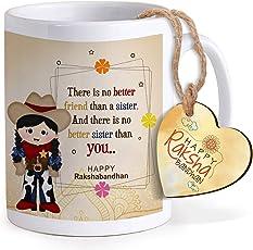 Tied Ribbons Best Rakhi Gift for Sister, Rakhi Gifts for Sisters Printed Coffee Mug with Happy Rakshabandhan Tag