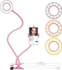 """Neewer Luce Anulare da Selfie con Morsa & Supporto Clip per Smartphone per Streaming in Diretta, Dimmerabile (Luminosità in 3 Modi & 8 Livelli) con Morsa """"Lazy Bracket"""" per YouTube, Facebook, iPhone 8/7/6S, Samsung, HTC (Rosa)"""