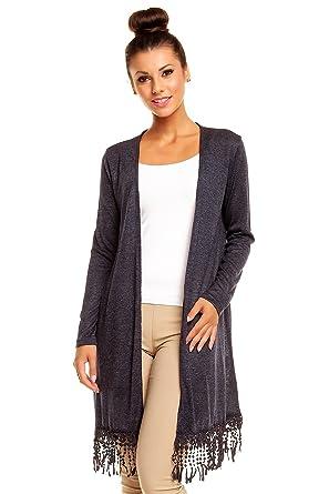 40f40cbec19a96 Best Emilie Damen langer Cardigan mit Fransen,  Farbe:Marine;Größe:Einheitsgröße
