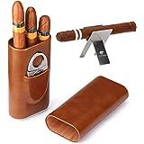Time C club 3 pezzi 3-conteggio portasigari marrone in cuoio con legno cedro sigari humidor scaffali di sigari pieghevoli in