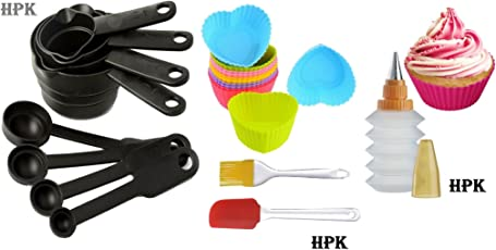 Bakeware Tools Brand Hpk 8 Pcs Pack Muffin Mould + 1 Decorating Squeezer + 8 Piece Measuring Cups & Spoons + 2 Pcs Silicone Spatula And Pastry Brush (Hpk-Hqc001)