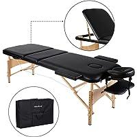 MaxKare Table de Massage Pliante en Bois, 3 Zones Pliables et Hauteur Réglable, Lit Professionnel d'esthetique pour Les Salons Bien-être/A Domicile + Sac de Transport