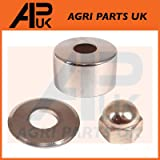 APUK Steering Wheel Column Chrome Guard Nut & Washer Compatible with Massey Ferguson FE35 135 Tractor