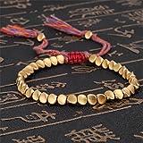 JKLBNM Fait à la Main Bouddhiste tibétain Coton tressé Perles de cuivre Chanceux Corde Bracelet Femmes et Hommes Bijoux