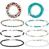Jubaopen 8pcs Collane Perline Colorate Collane Girocollo con Perline in Stile Bohémien Gioielli Regolabile Collana con Perlin