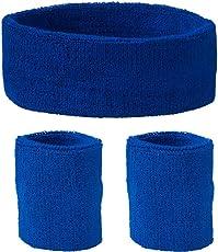 Schweißband Set 3 tlg. Für Kopf und Arm - royal blau
